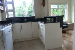 Black Pearl Granite Worktop with Upstands, Window Board & Raised Breakfast Bar