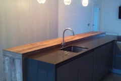 Luna Sand Quartz Worktop with single sink cut out with flutes & an End Gable