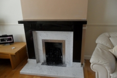 Supreme Black Granite & Carrara Marble Fireplace