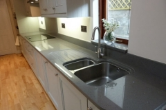 Sparkling Grey Quartz Worktop with Recessed Draining Board