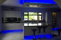 Sparkling Grey Quartz Worktop, Upstands, Window Board, 60mm Mitred Downstands on Island & 1/2 Recessed Draining Board