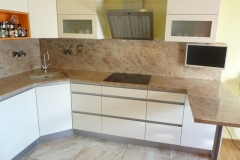 Shiva Ivory Granite Worktop with Full Height Cladding