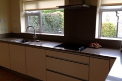 Emerald Quartz Worktop, Upstands, Splashback, Window Boards, Full Bullnose Edge Polishing & Recessed Draining Board