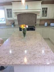 Silver Sea Quartz Worktop, Upstands & Splashback