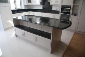 Indian Black Granite Worktop with Ogee Edge Profile on Island Top