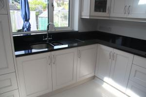 Indian Black Granite Worktop, Upstands, Window Board & 1/2 Recessed Draining Board