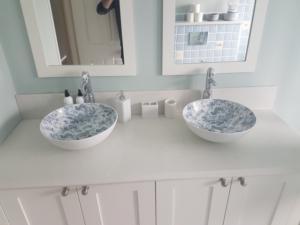Carrara Quartz Vanity Top with Ogee Edge Profile & Upstands