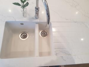 Venatino Quartz Sink Section with 1/2 Recessed Draining Board