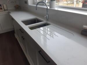 Misterio Quartz Worktop, Upstands, Window Board & 1/2 Recessed Draining Board