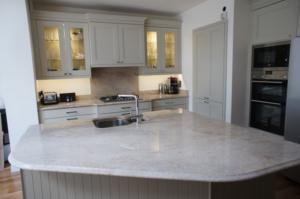 Astoria Ivory Granite Worktop with Ogee Edge Profile, Upstands & Splashback