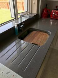 Sparkling Grey Quartz Worktop, Upstands & Window Board