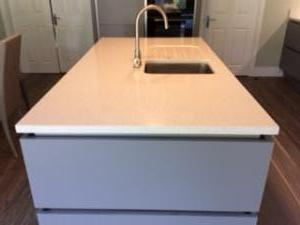 Sparkling White Quartz Island Top with 1/2 Recessed Draining Board