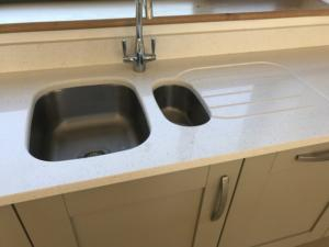 Crystal Ivory Quartz Sink Section with 1/2 Recessed Draining Board