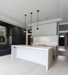 Gioia Carrara Quartz Worktop with 50mm Mitred Downstands & Wall Cladding