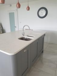 Valley White Quartz Island Top with 1/2 Recessed Draining Board